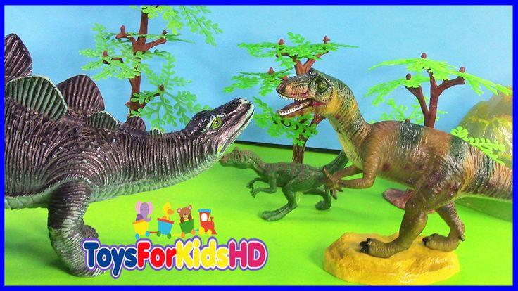 Los Dinosaurios para niños Allosaurus v/s Stegosaurus - Juguetes de Dino...
