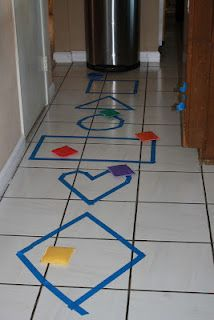 Indoor activity for teaching shapes while getting kids moving