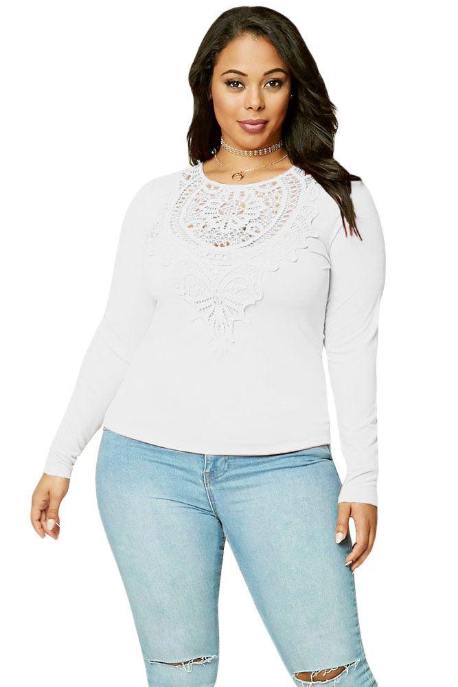 508a37da5de1f White Long Sleeves Plus Size Crochet Lace Top in 2018
