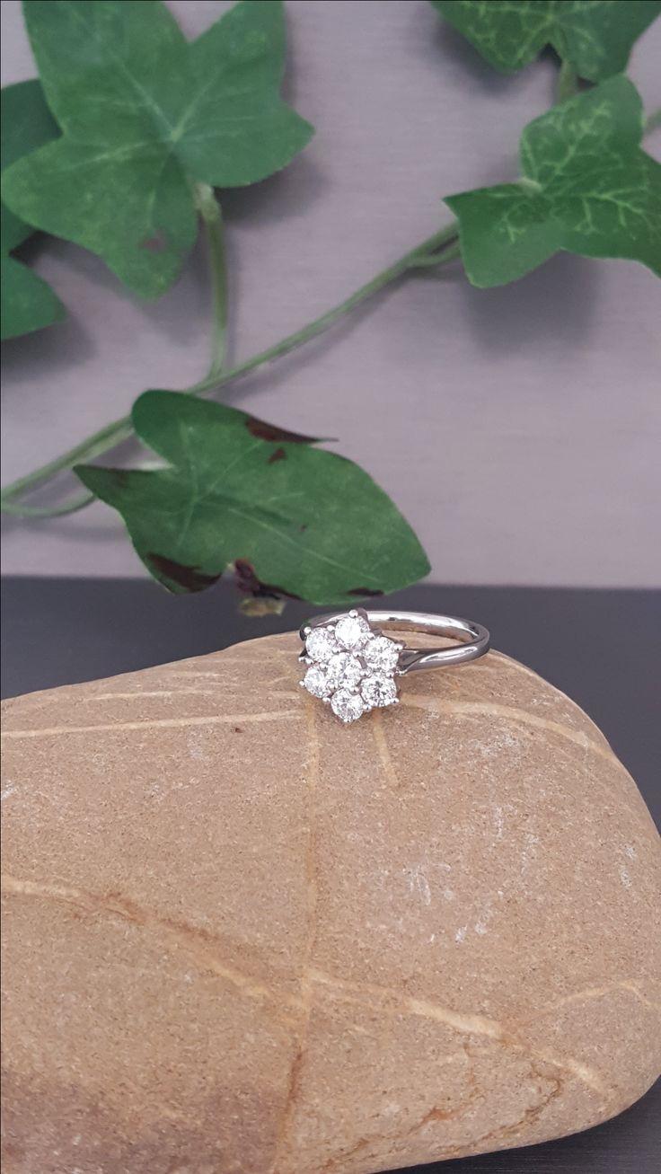 Lovely 7 Stone Diamond Cluster set in Platinum