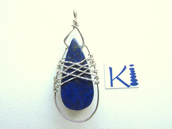 Lapis Lazuli Pendant Sterling Silver Wire Wrapped
