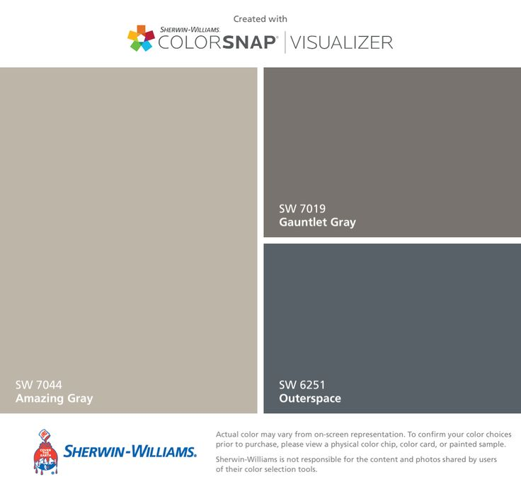 I found these colors with ColorSnap® Visualizer for iPhone by Sherwin-Williams: Amazing Gray (SW 7044), Gauntlet Gray (SW 7019), Outerspace (SW 6251).
