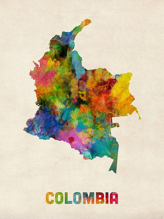 Colombia Watercolor Map Poster By Michael Tompsett