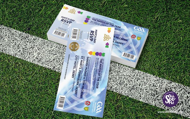 GAA MATCH TICKET INVITATION  A quirky fun wedding invitation for GAA lovers. The perfect way for the happy couple to display their GAA county or club loyalties. This unique wedding invitation design is inspired by the look of a traditional All-Ireland Final ticket with a few quirky tweaks. #GAA #wedding #invitation. #GAAInvitations #football #hurling #crokepark #GAATicketInvitation