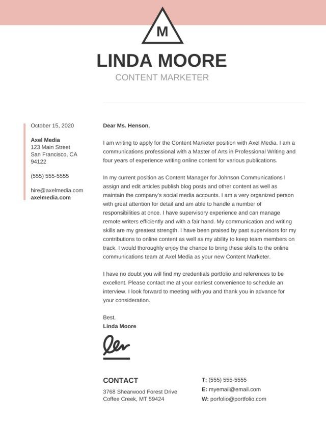 Cover Letter Template Free | 25 Best Cover Letters Cover Letter Examples For Job Pinterest
