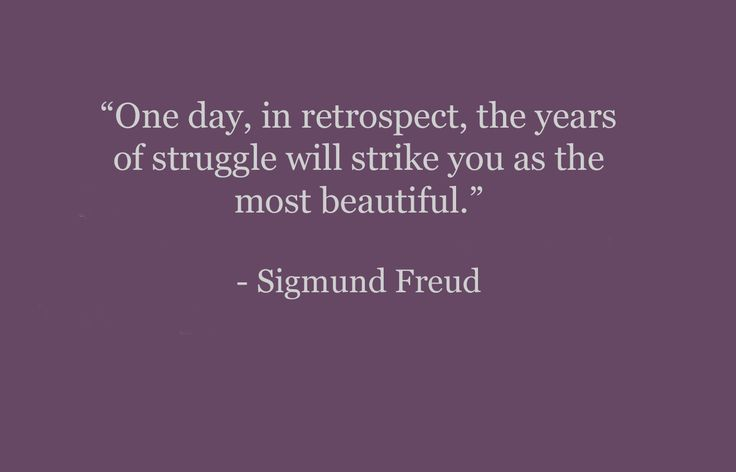"""""""One day, in retrospect, the years of struggle will strike you as the most beautiful.""""---Freud"""
