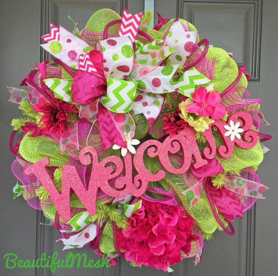 Pink and Lime Green Welcome Deco Mesh Wreath by BeautifulMesh