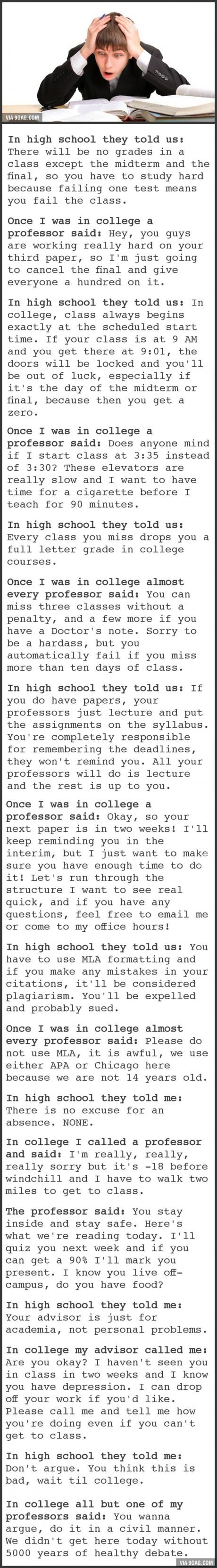 """""""College As Explained To Me In High School"""" VS. """"College As Experienced Firsthand"""" specially the one about MLA!!"""