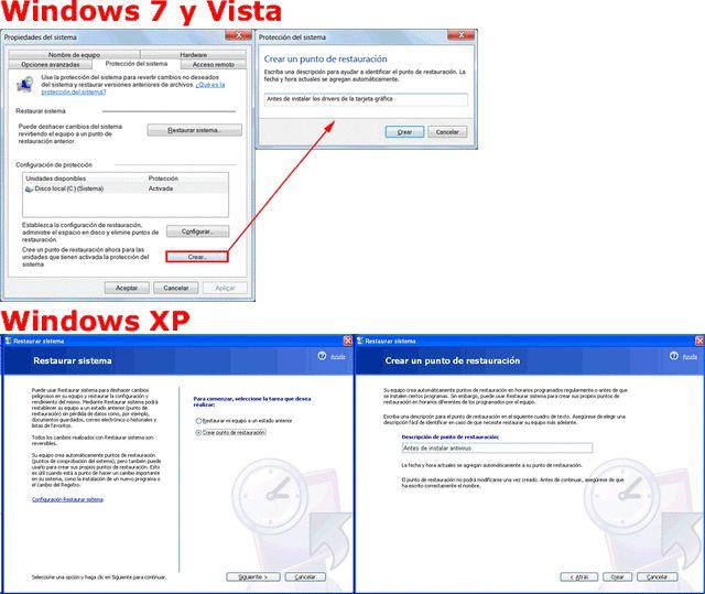 Crear puntos de restauración en Windows 7, XP y Vista. Cuándo hacerlo y cómo.