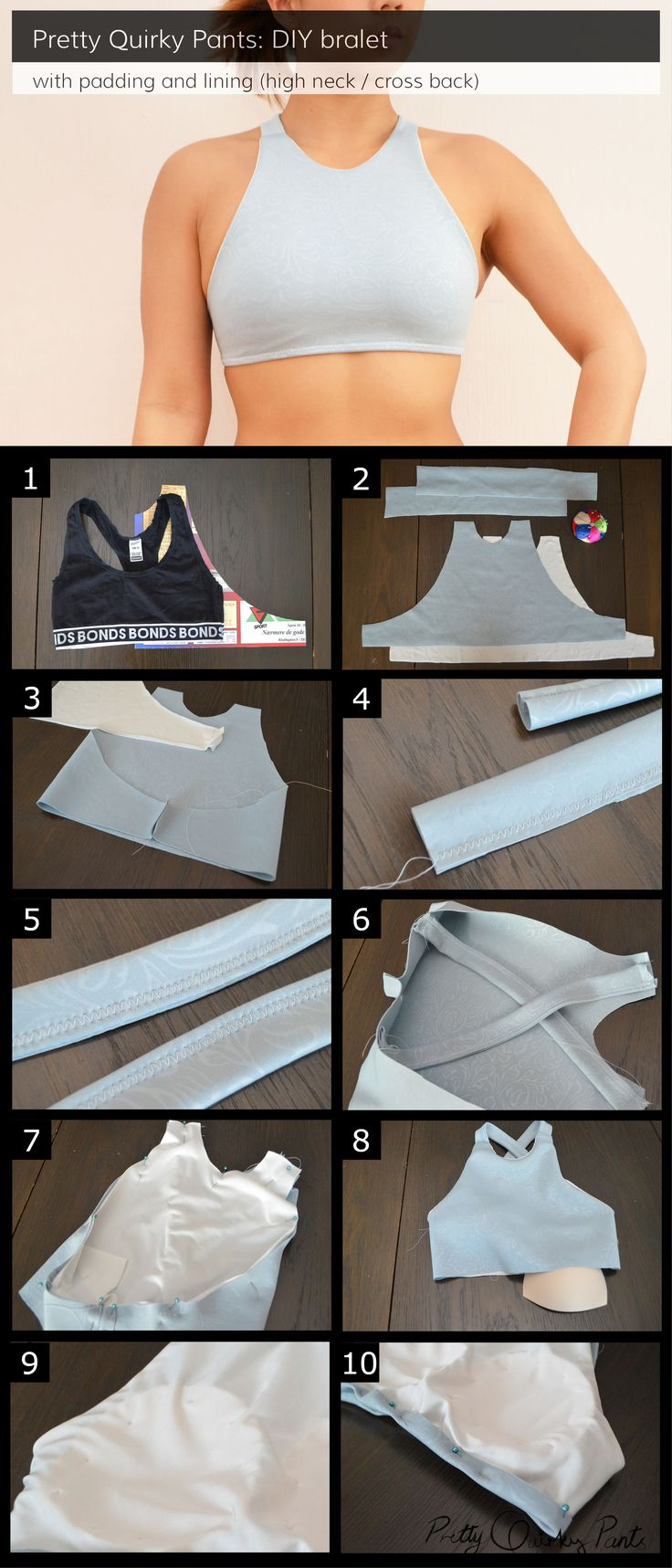 DIY Lined and Padded Bralet or Sports Bra