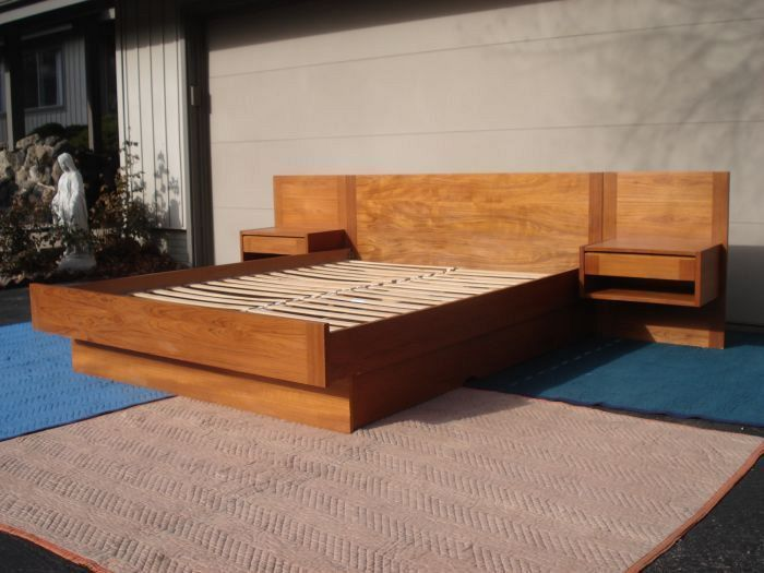 Platform Bed With Built In Nightstands Interesting Teak Danish