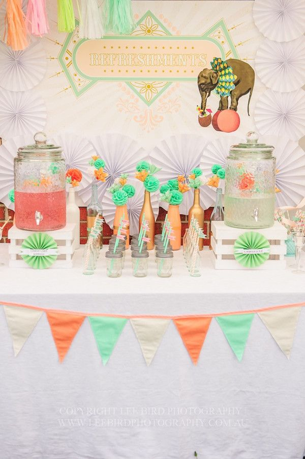 vintage peach and mint baby shower drink ideas - would ...
