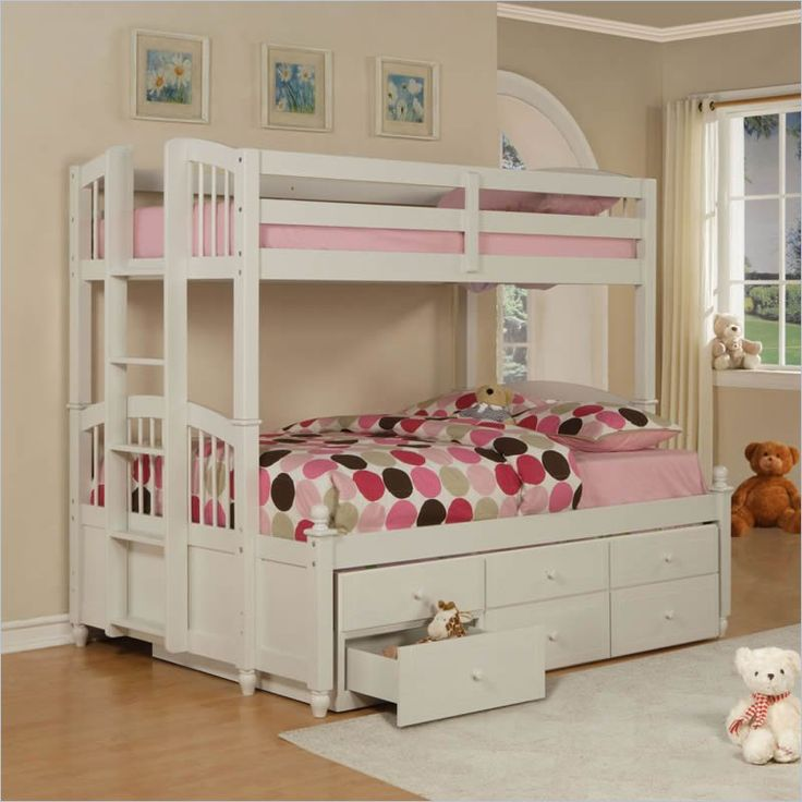 Details About White 3 Piece Storage Drawers Twin Bed Box: Powell May Twin Over Full Bunk Bed In Pure White Finish