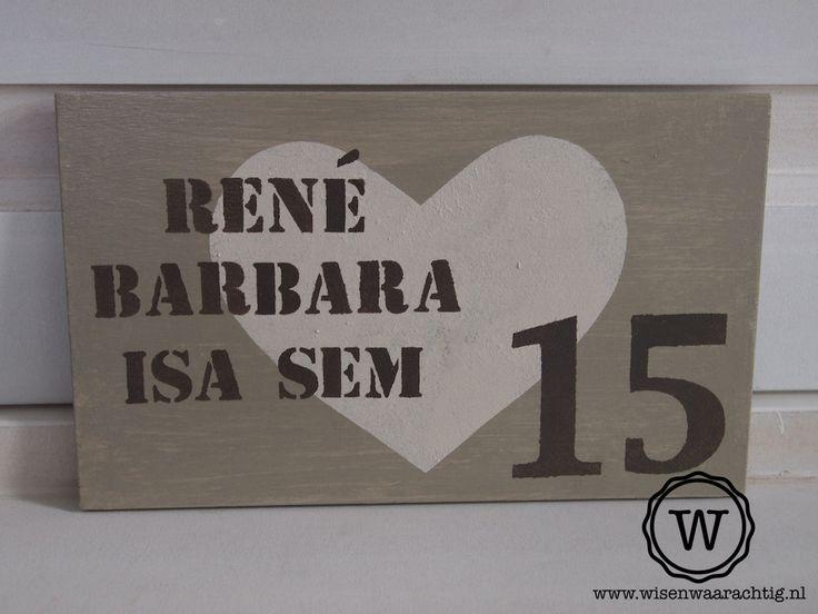 Romantisch naambord bij de voordeur, bijzonder #kado voor #valentijnsdag