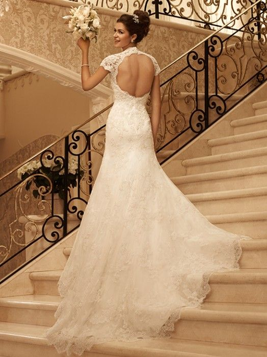 Chapel Train Keyhole Back Lace Queen Anne Empire Wedding Dress