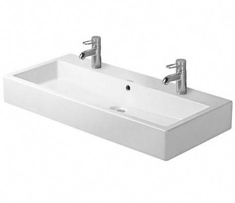 Vero Series Washbasin Ground 39-3/8″ with Overflow, with 2 Tap Punched Hole for faucet, Wall Mounted Bathroom Sink, Duravit, 045410