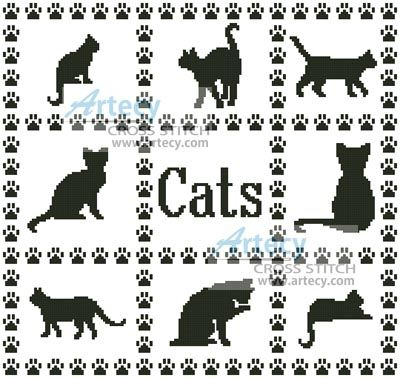 Artecy Cross Stitch. Cat Sampler Cross Stitch Pattern to print online.