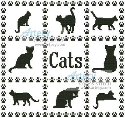Artecy Cross Stitch. Cat Sampler Cross Stitch Pattern to print online.