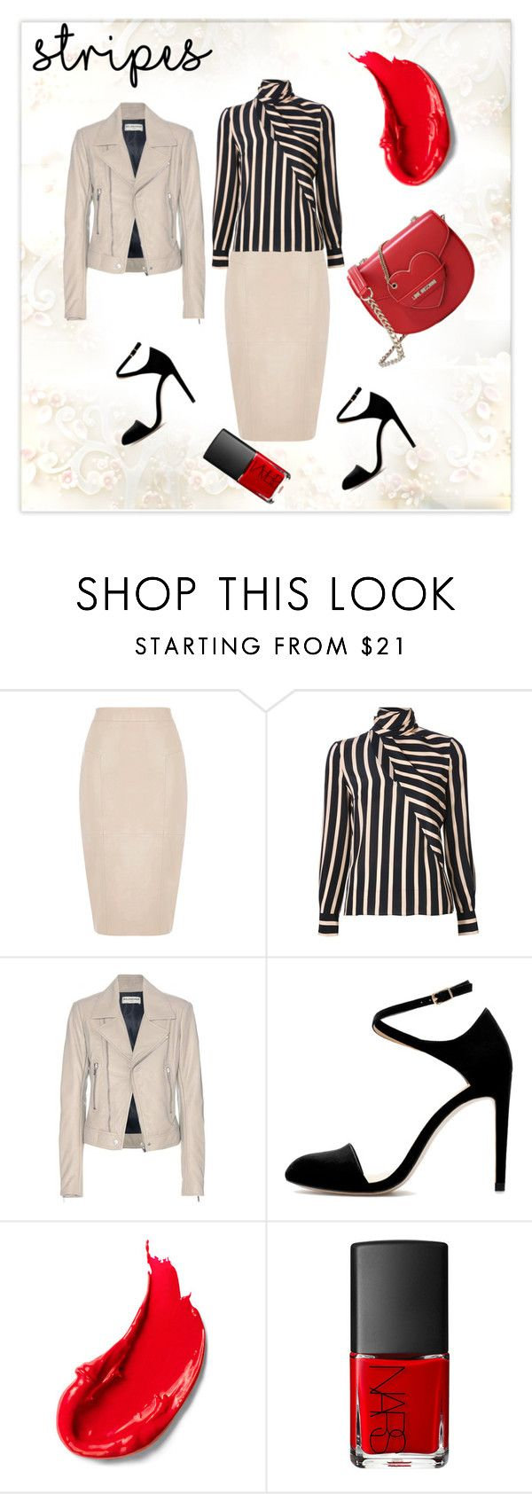 """one direction: striped shirts"" by louisaokonye ❤ liked on Polyvore featuring mode, Oasis, Emanuel Ungaro, Balenciaga, Estée Lauder, NARS Cosmetics, Love Moschino en stripes"