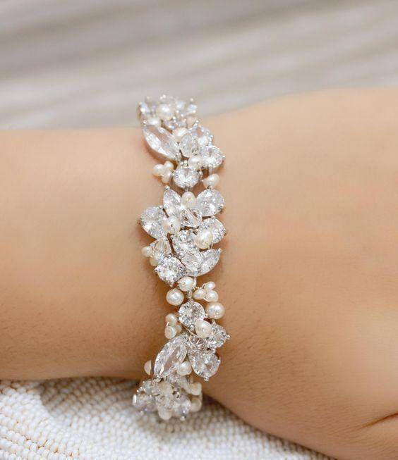 Statement Bridal Bracelet Wedding Jewelry Rhinestone