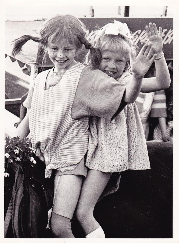 Pippi Longstokking (Swedish) and Anita Hegerland (Norwegian artist) performing together in Tønsberg, Norway in 1969.