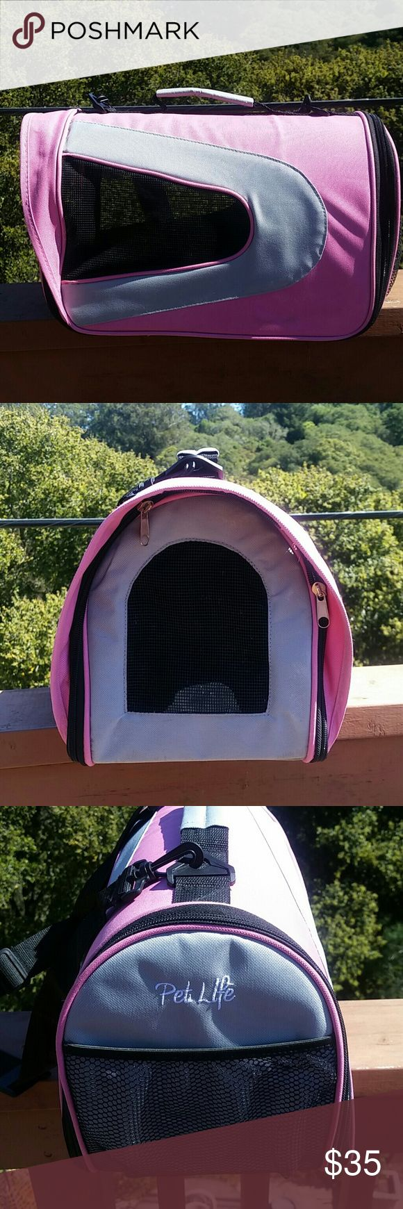 "Pink Pet Carrier. S For small pet or bunny. Very sturdy, Cat safe and puppy safe. I accidentally purchased too small. Light weight, but sturdy, and cushioned to keeep pets comfy.  For a small kitten, bunny, guinnea pig, or tiny dog  12"" L x 7"" W x 10"" H  Zips all around Removable and adjustable staps. Pet Life Bags"