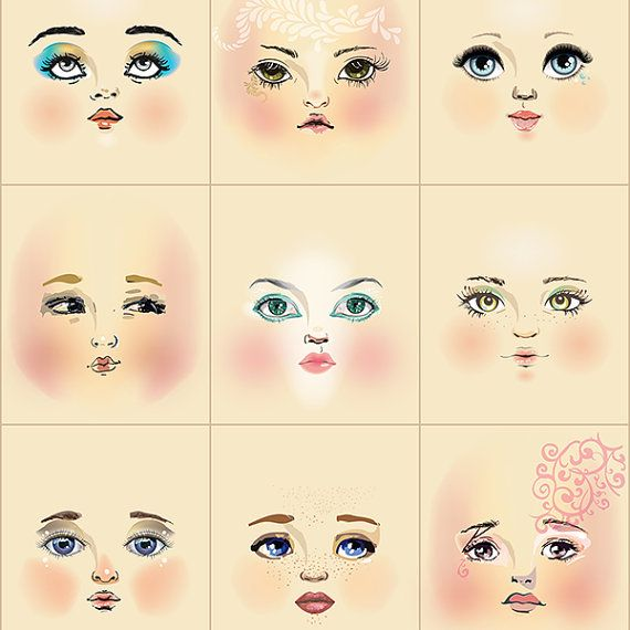 Artistic doll faces on cream background  Fabric doll face panel with 9 faces—every face is different and each has light blush and shading to enhance dimensional appearance  Use these cotton poplin faces in your original doll projects. The scale is great for dolls 10 to 18 inches (25-46 cm) tall depending on desired head proportions. Square size: 3.5 inches wide by 4 inches tall (9 by 10 cm) Flat face size: about 3.5 inches tall (9cm) Stuffed face size: 3 inches (8cm) tall Includes scaled…