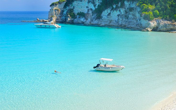 Voutoumi Beach in Anti Paxos, near Paxos, Greece