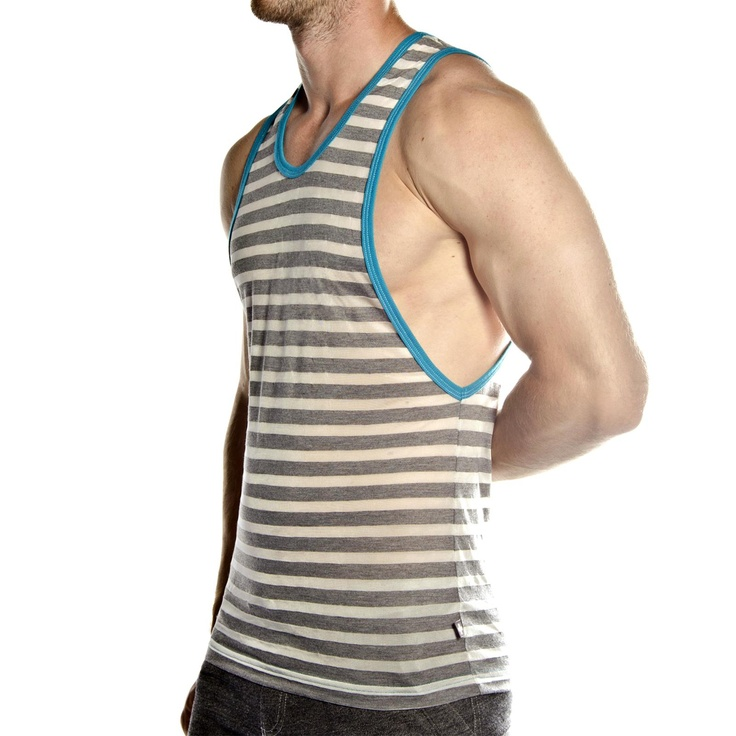 Gusto Low Armhole Tank at Andrew Christian in CHARCOAL STRIPE