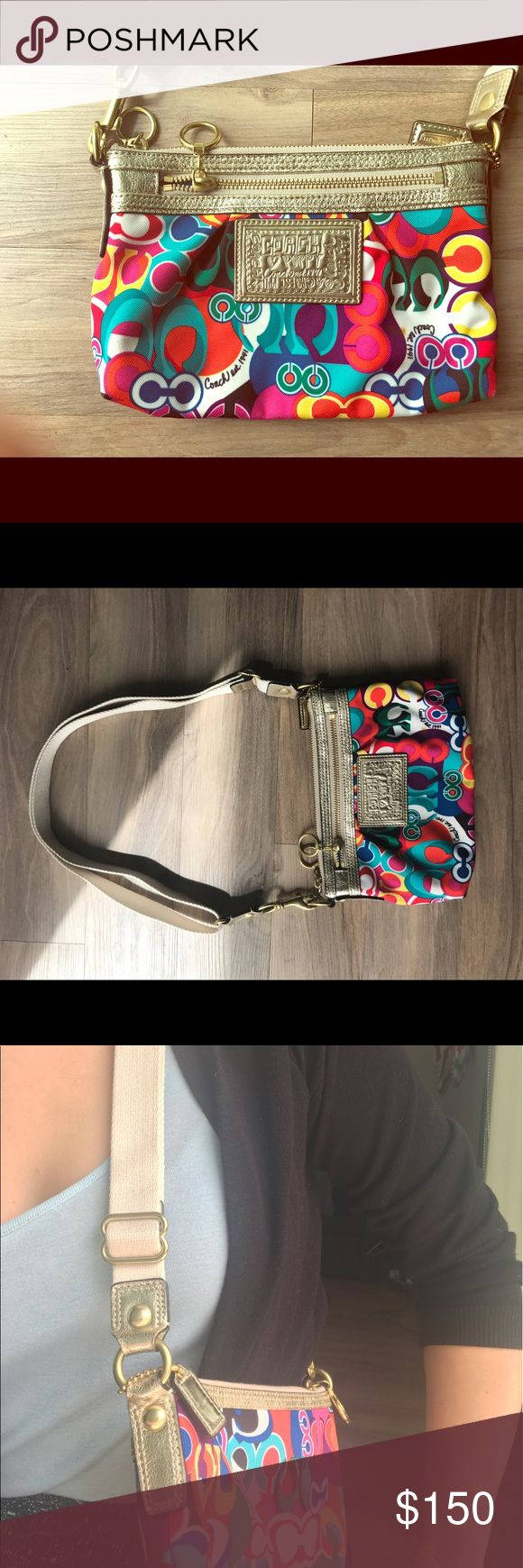 Coach Poppy Pop C Mini Swingback Crossbody (rare) Limited edition Poppy Pop P print rainbow coach purse. Brand new and never used, but without tags. I'm just not a rainbow sort of gal. I couldn't find a picture of the original listing since it's a bit retro now. Great spring purse. Coach Bags Crossbody Bags