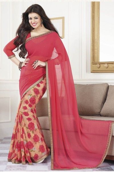 Bollywood Ayesha Takia Georgette Printed Saree In Pink Colour