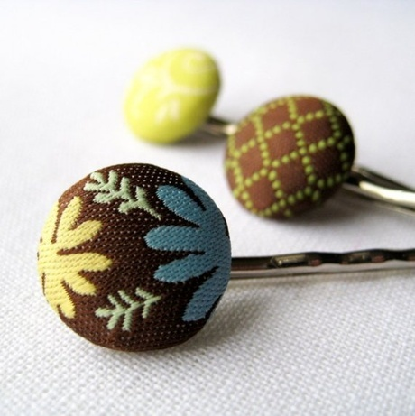 Shoply.com -Button Bling Hair Pins in Chocolate Blue and Green, Set of 3. Only $21.00
