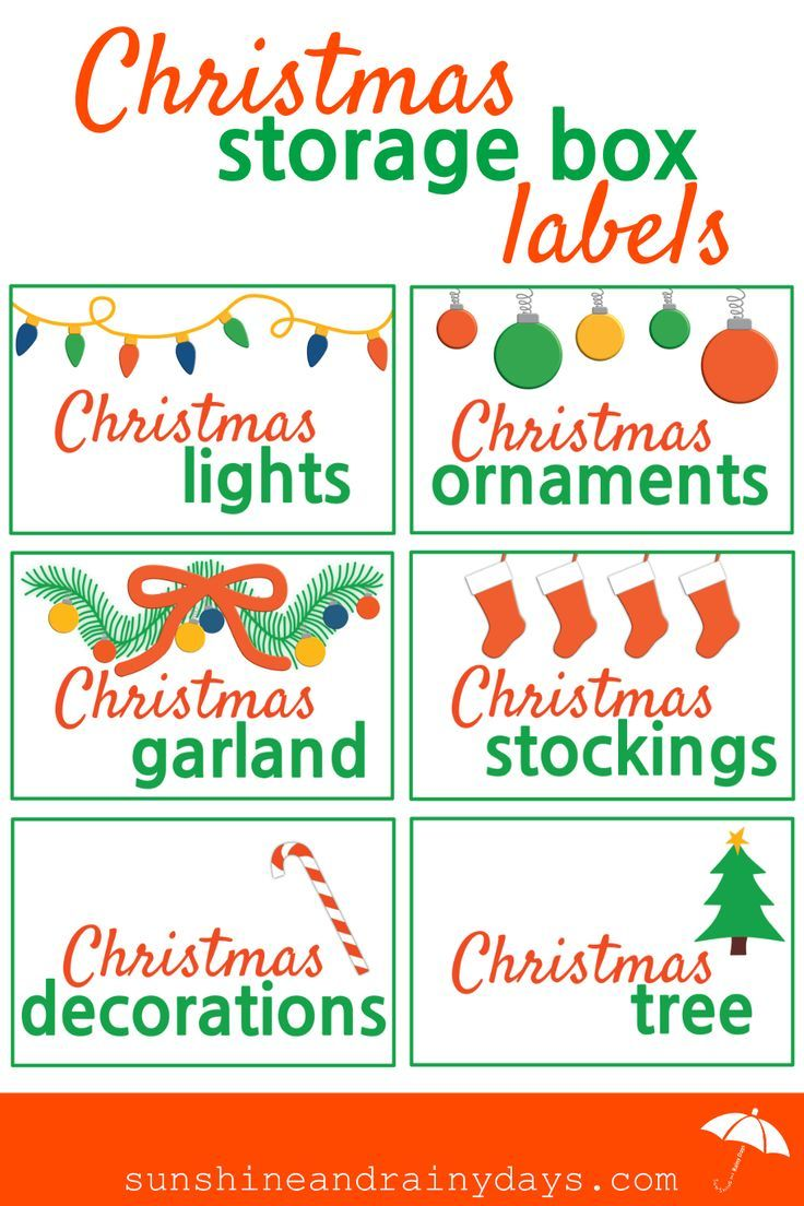 Something about the New Year makes me want to get organized! I'm starting with our Christmas decorations and, of course, needed some Christmas Storage Box Labels to make it more fun! #ChristmasStorage #ChristmasStorageLabels #ChristmasPrintables via @Sunshine and Rainy Days