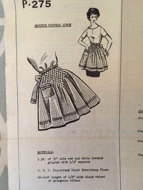 Smocked Hostess Apron 1960s Women's Pattern - OH - 1960s Apron / 60s Pattern / Vintage Apron Pattern / Half Apron / Half Apron Pattern