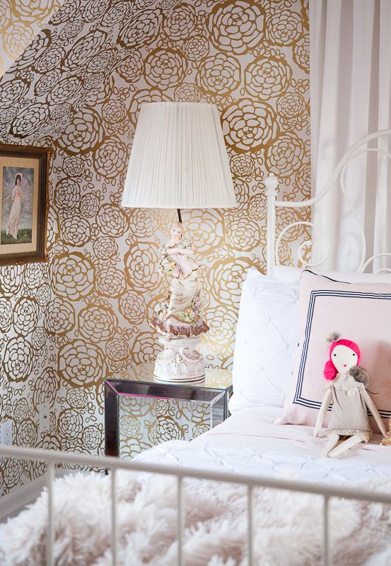 christine dovey pine girls room 5 handmade doll porcelain lamp gold hygge and west floral wallpaper