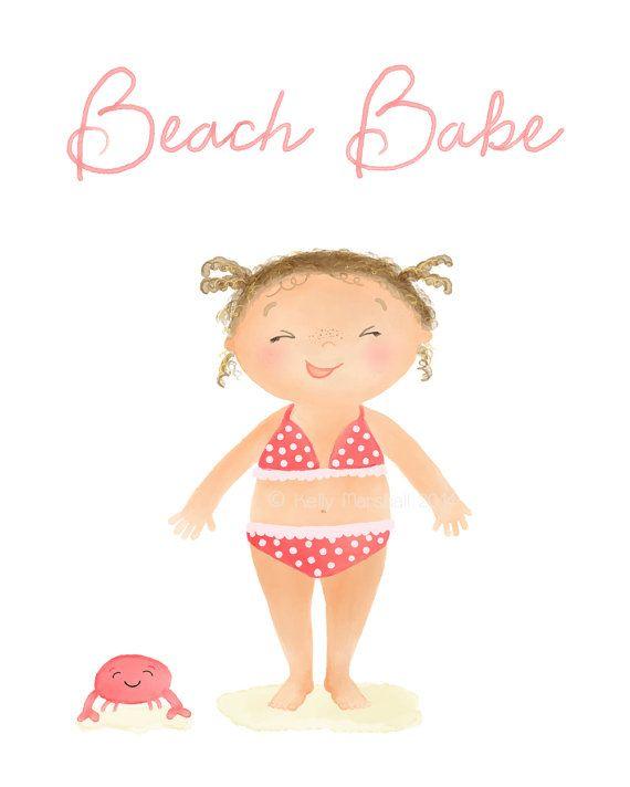♥ Beach Babe ♥ Unframed Nursery Art Print by Sweet Cheeks Images. $12.00 AUD