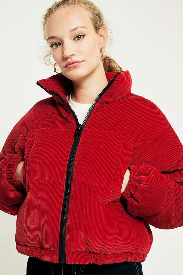 Slide View: 1: Light Before Dark Red Corduroy Cropped Puffer Jacket