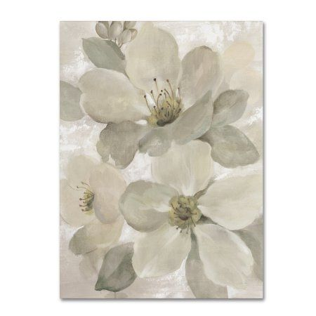 Trademark Fine Art 'White on White Floral I Crop Neutral' Canvas Art by Silvia Vassileva, Size: 18 x 24, Gray