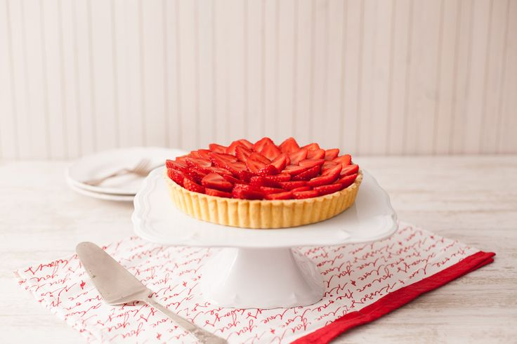 Strawberry Tart. This beautiful summer dessert is great for wowing guests, yet it comes together so quickly it is no effort at all. It can be made ahead of time, and even easier, you could use store bought shortcrust pastry. For a neat looking finish, try look for strawberries that are all similar sizes.
