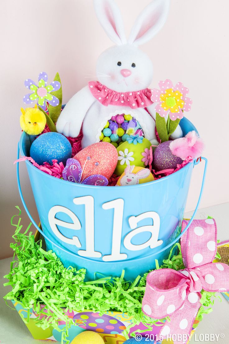 139 best easter basket ideas images on pinterest craft kids add a personal touch to your little ones easter basket or bucket by negle Image collections