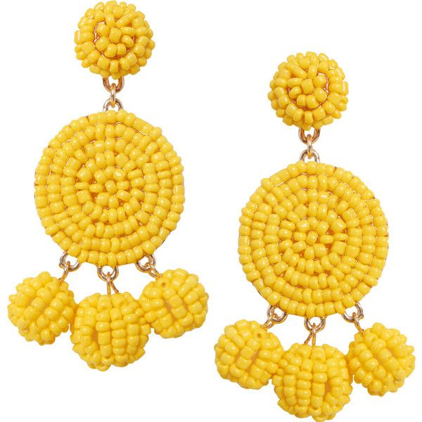 Humble Chic NY Peppy Disc Dangles found on Polyvore featuring jewelry, earrings, yellow, stud earrings, oversized stud earrings, beaded chandelier earrings, dangle chandelier earrings and yellow chandelier earrings
