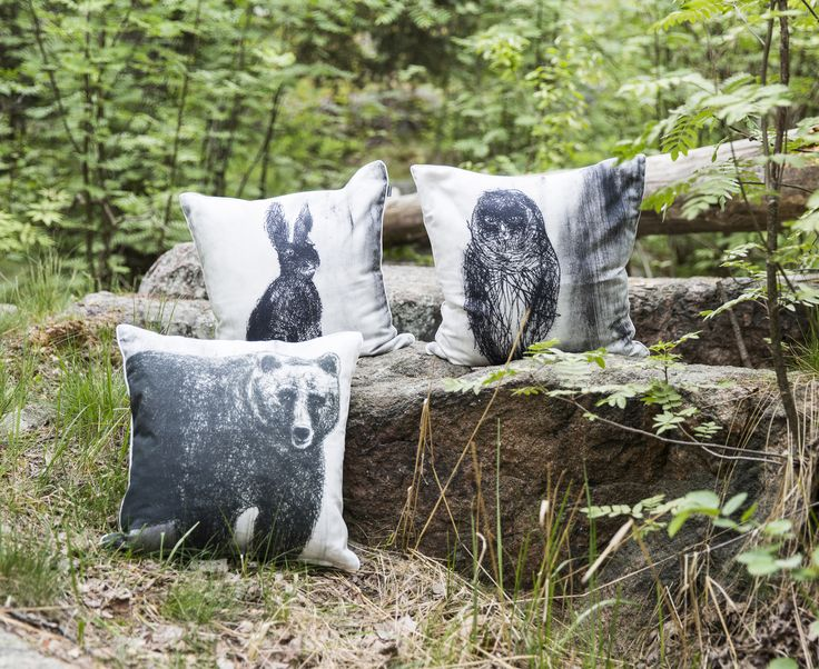 Fauna Cushion Covers - Bear, Owl & Rabbit | Gorgeous Finnish animal figures decorate Fauna pillow cases designed by Lasse Kovanen.