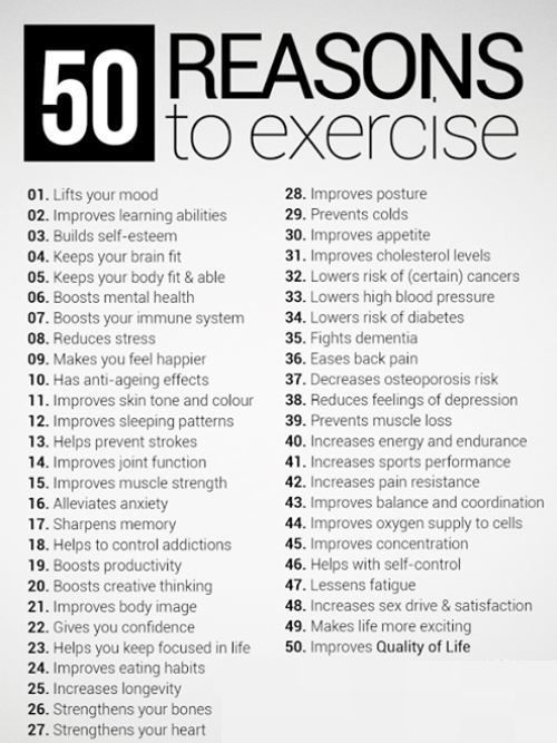 50 Reasons to Exercise - Inspire My Workout