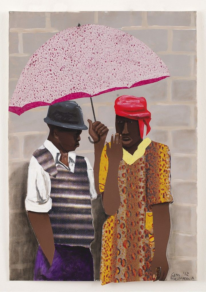 Sam Nhlengethwa: Conversations (2012, Johannesberg) Conversations is an exhibition of new work by Sam Nhlengethwa that portrays the scenes from the city of Johannesburg and its people.