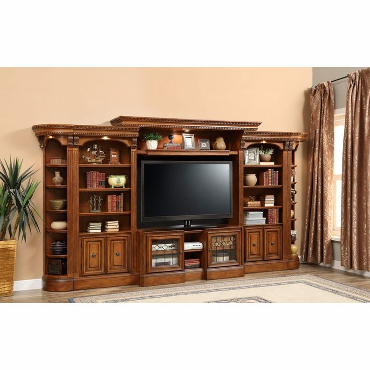 Parker House – Huntington 6PC Library Entertainment Wall Set B in Antique Vintage Pecan