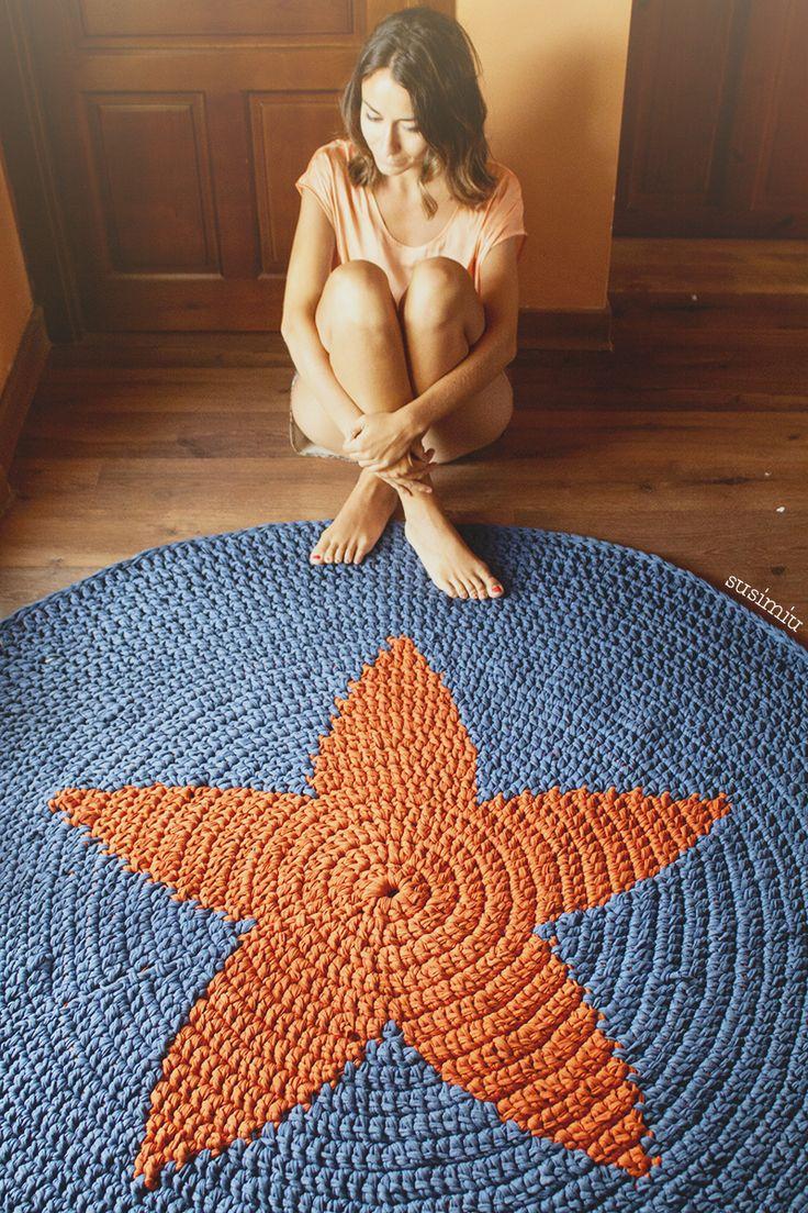 Alfombra Estrella hecha con trapillo www.susimiu.es