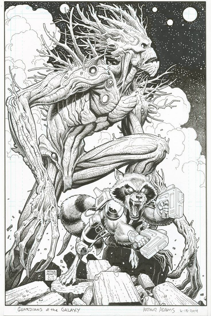 Arthur Adams - Guardian of the Galaxy variant, Rocket and Groot.