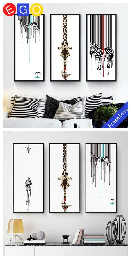 Nordic Black and white abstract creative Giraffe zebra Mural decoration oil paintings canvas painting wall picture Porch decor