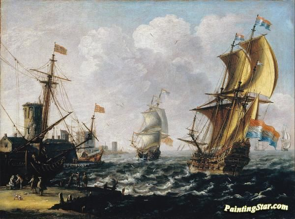 Dutch levanters in a rough sea Artwork by A Castro Lorenzo Hand-painted and Art Prints on canvas for sale,you can custom the size and frame