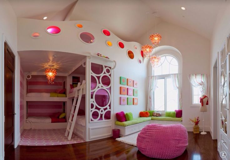 Eclectic Kids Bedroom with Arched window, Custom Bunk Beds, Custom Wall Panel, Window seat, Bunk beds, Pendant Light